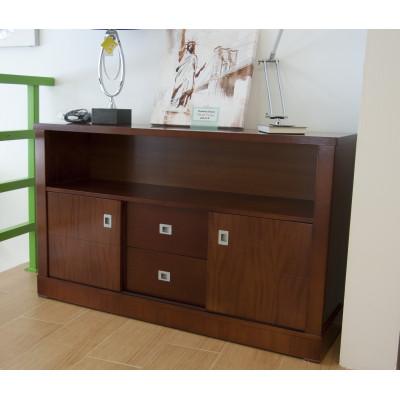 Mesa de televisión de madera color nogal