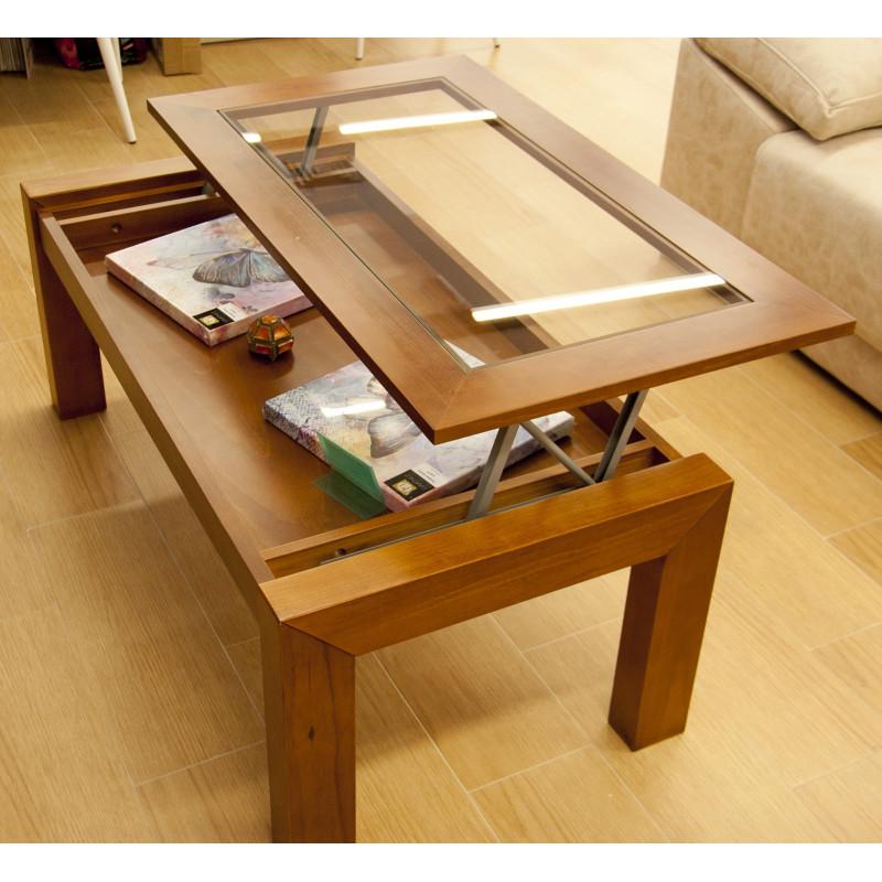 Mesa de centro elevable de madera for Muebles rusticos malaga