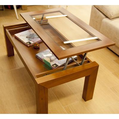 Mesa de centro elevable de madera, 110x60 cms