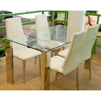Mesa redonda de cristal con juego de sillas verde pistacho for Mesa diseno