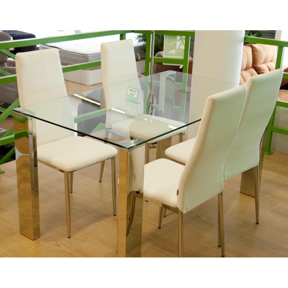 Mesa de comedor de 140 de cristal con juego de sillas for Mesas de comedor cuadradas de diseno