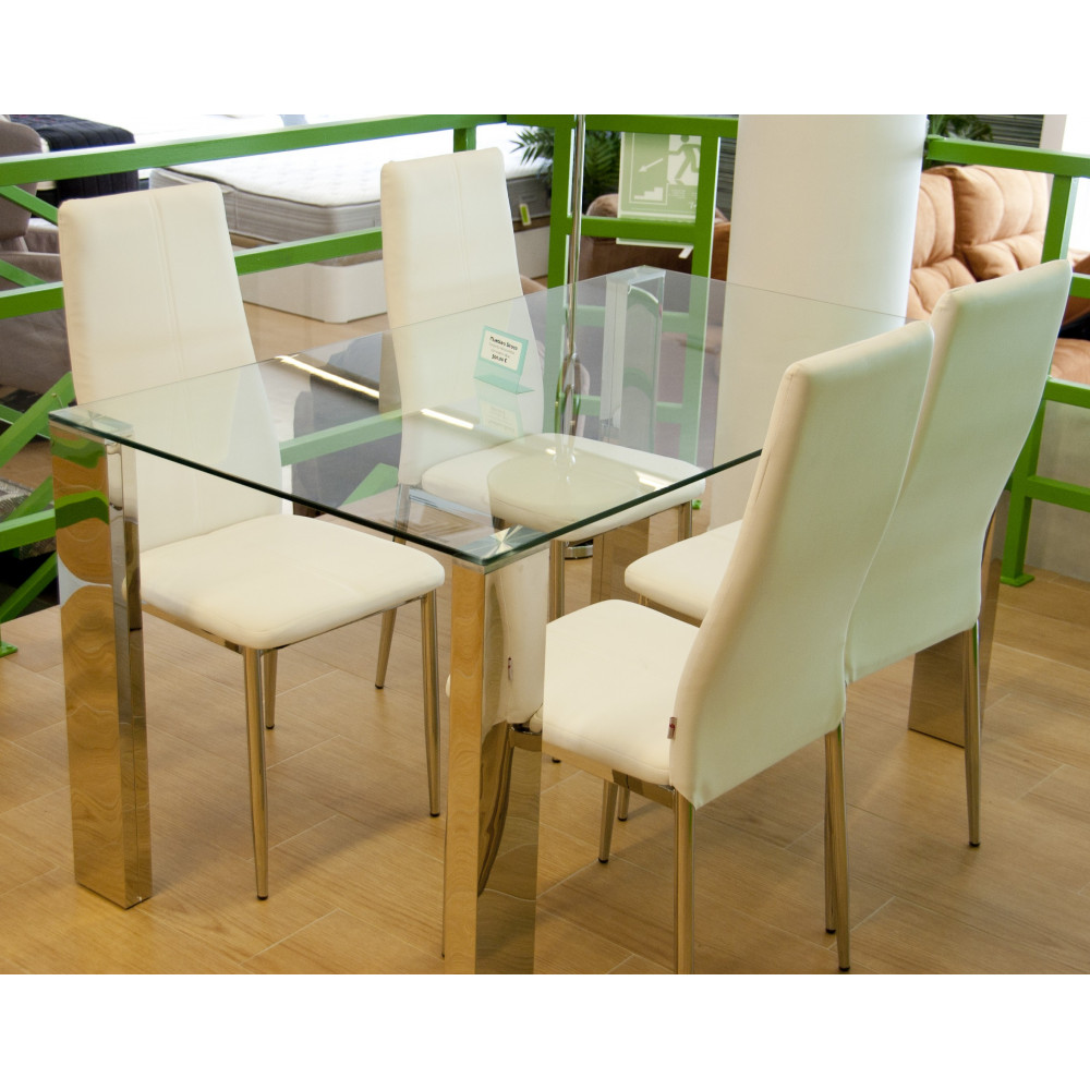 Mesa de comedor de 140 de cristal con juego de sillas for Adornos mesa comedor cristal