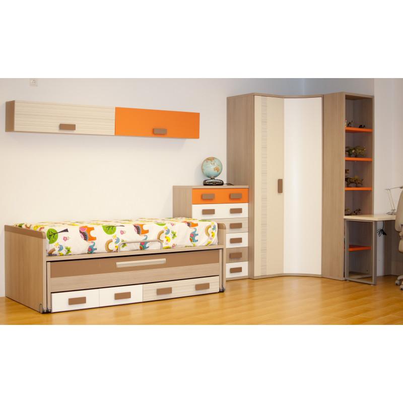 Dormitorio juvenil con cama compacta y armario rinconero for Armarios juveniles baratos
