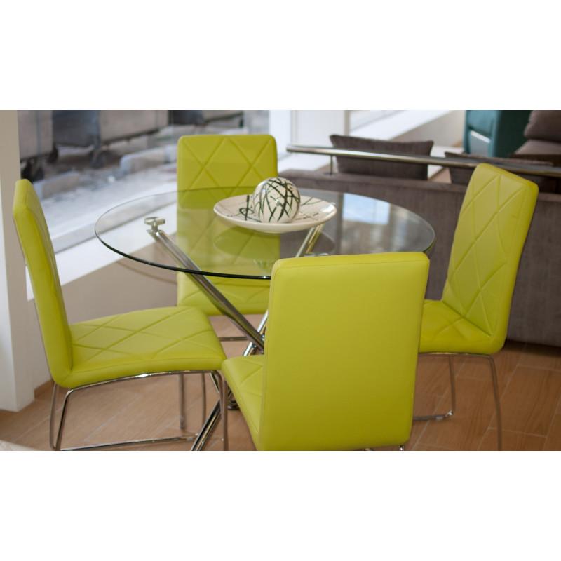 Mesa redonda de cristal con juego de sillas verde pistacho - Mesa redonda de cristal ...