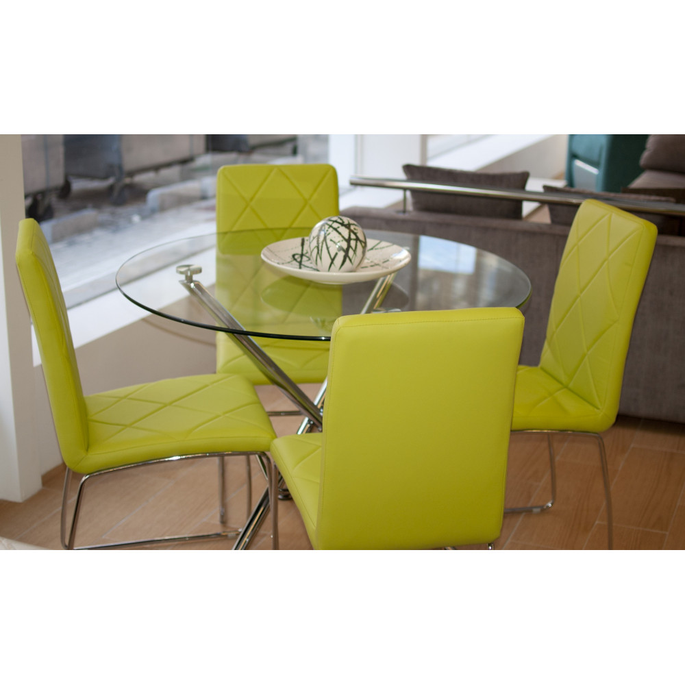 Mesa redonda de cristal con juego de sillas verde pistacho for Sillas para una mesa de cristal