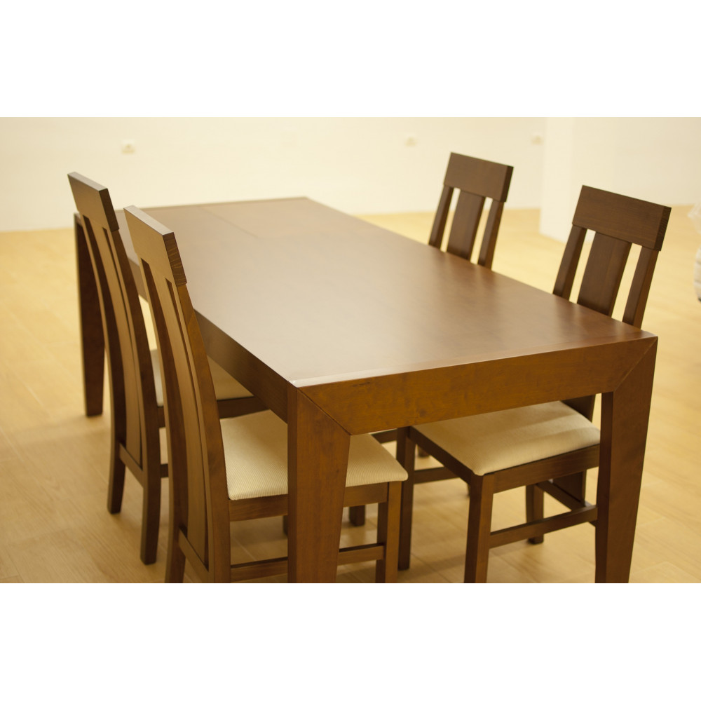 Mesa de comedor extensible de madera sistema de carro con 4 sillas for Comedor 4 sillas madera