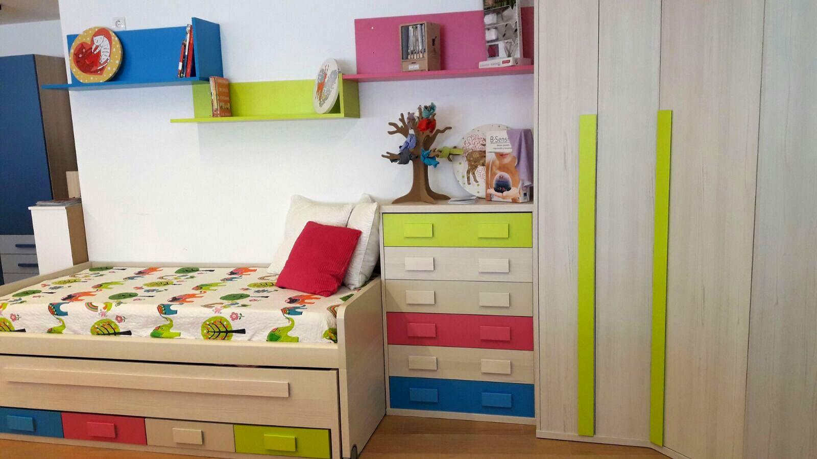 Dormitorio Juvenil Adaptable Con Cama Doble Compacta Cajoneras  ~ Estanterias Dormitorios Juveniles
