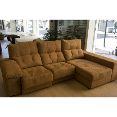 Sofá chaise longue con asientos extraíbles y arcón