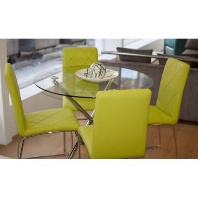 Mesa de cristal con juego de sillas color verde pistacho