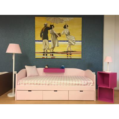 Dormitorio infantil rosa con nombre personalizable y cajoneras