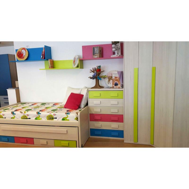 Dormitorio juvenil adaptable con cama doble compacta, armario de rincón, cajoneras y estanterías
